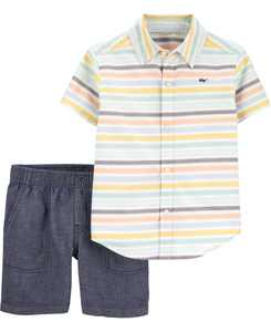 Baby Boys 2-Piece Button-Front Shirt and Short Set