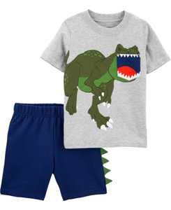 Baby Boys 2-Piece Dinosaur Pocket Tee and Short Set