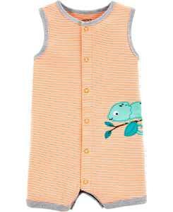 Baby Boys Cotton Striped Chameleon Romper