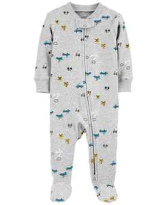 Baby Boys Ribbed Transportation Footed Pajamas