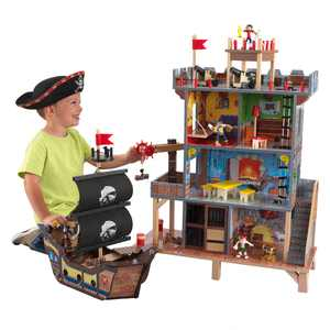 KidKraft Pirate's Cove Wooden Ship Play Set with Lights and Sounds and 17 Accessories