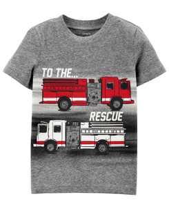Toddler Boys Glow-In-The-Dark Firetruck T-Shirt