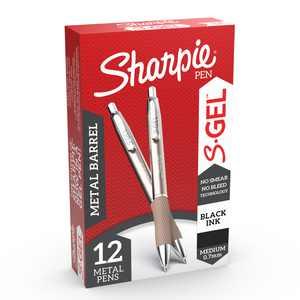 Sharpie S-Gel, Gel Pens, Sleek Metal Barrel, Medium Point (0.7 mm), Black, 12 Count