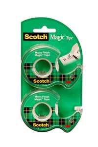 Scotch Magic Tape Dispensers, 3/4 in. x 600 in., 2 Dispensers/Pack