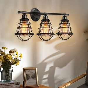 3-Light Industrial Bathroom Vanity Light Fixture with Black Metal Cage Wall Mounted Sconce Farmhouse Vanity Wall Sconce for Bathroom