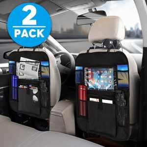 TSV 2-Pack Kick Mats Car Backseat Organizer, Black Baby Child Kids Auto Back of Seat Protector, Vehicle Waterproof Seat Back Kick Protectors
