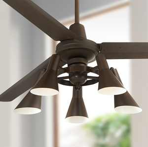 """60"""" Casa Vieja Industrial Retro Indoor Ceiling Fan with Light LED Dimmable Remote Oil Rubbed Bronze Adjustable Head for Living Room"""