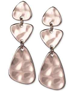 Stone Textured Triple Drop Earrings, Created for Macy's