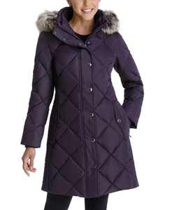 Faux-Fur-Trim Hooded Down Puffer Coat