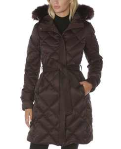 Belted Faux-Fur-Trim Hooded Puffer Coat