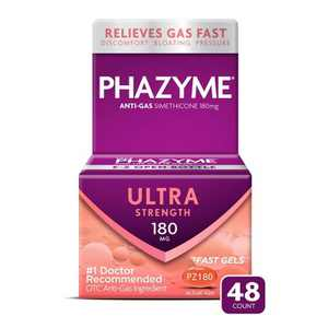 Phazyme Ultra Strength Gas & Bloating Relief Works in Minute 180mg Fast Gels - 48ct