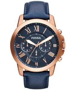 Grant Chronograph Navy Leather Watch 44mm