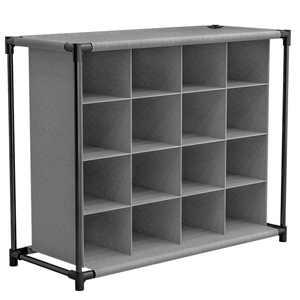4 Tier Bookcase Storage Cube Closet Organizer Shelf 16 Cube Cabinet Bookshelf Shelves Storage in Gray ,55x15x26inch