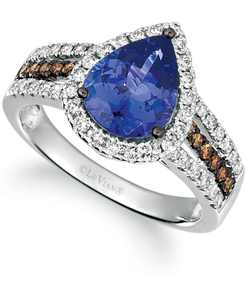 Blueberry Tanzanite (2 ct. t.w.) & Diamond (5/8 ct. t.w.) Ring in 14k White Gold