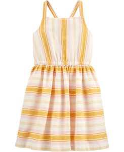Little Girls Striped Linen Dress