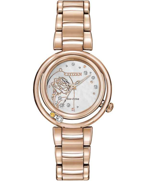 Citizen Eco-Drive Women's Belle Diamond-Accent Rose Gold-Tone Stainless Steel Bracelet Watch 30mm