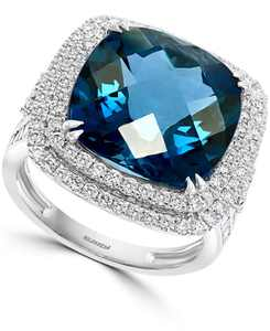 EFFY London Blue Topaz (12-1/3 ct. t.w.) & Diamond (1-1/5 ct. t.w.) Halo Statement Ring in 14k White Gold