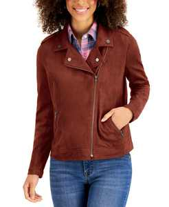 Petite Faux-Suede Moto Jacket, Created for Macy's