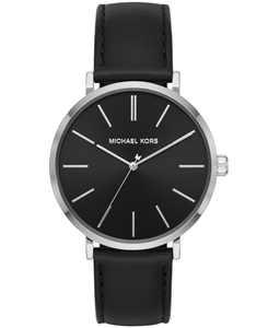 Men's Jayne Three-Hand Black Leather Watch 42mm MK7145