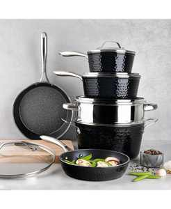 Hammered Aluminum Diamond Infused Nonstick 10-Pc. Cookware Set, Created for Macy's