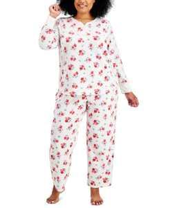 Plus Size Thermal Fleece Printed Pajama Set, Created for Macy's