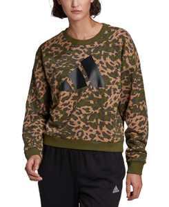 Women's Cotton Sportswear Leopard-Print Sweatshirt