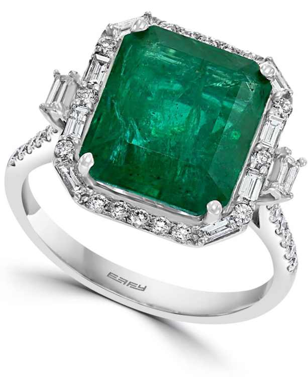 EFFY Emerald (5-1/2 ct. t.w.) & Diamond (1/2 ct. t.w.) Statement Ring in 14k White Gold