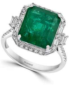 EFFY Emerald (5-1/2 ct. t.w.) & Diamond (1/2 ct. t.w.) Statement Ring in 14k White Gold