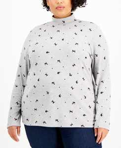 Plus Size Holiday Kitty Top, Created for Macy's