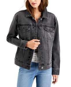 Black Denim Trucker Jacket, Created for Macy's