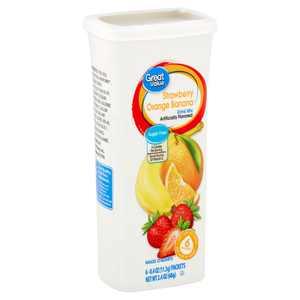 Great Value Strawberry Orange Banana Drink Mix, 0.4 oz, 6 count