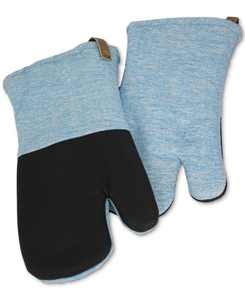 Space Dyed Linen-Look Oven Mitts with Leather Straps, Set of 2
