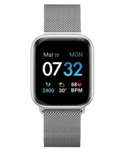 Air 3 Unisex Touchscreen Smartwatch Fitness Tracker: Silver Case with Silver Mesh Strap 44mm