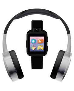 Kid's Playzoom Black and Silver Tone Tpu Strap Smart Watch with Headphones Set 41mm