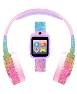 Kid's Playzoom Pink Rainbow Glitter Tpu Strap Smart Watch with Headphones Set 41mm