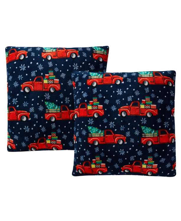 """LAST ACT! Holiday Print Plush 18"""" Decorative Pillow 2-Pack"""