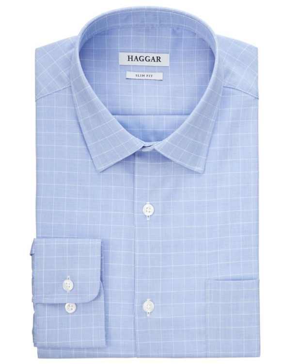 Men's Comfort Stretch Blue-Check Dress Shirt