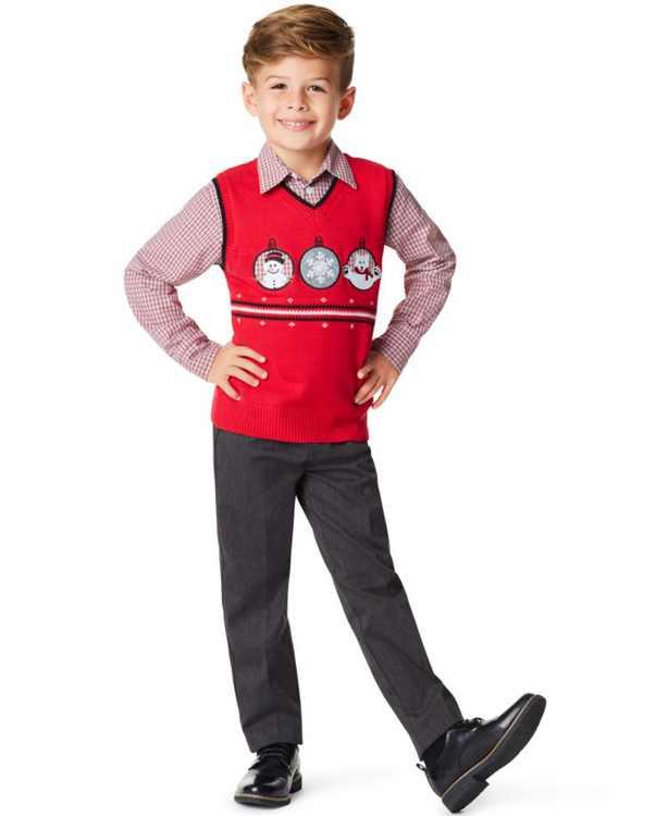 Little Boys Triple Ornament 3 Piece Sweater Set