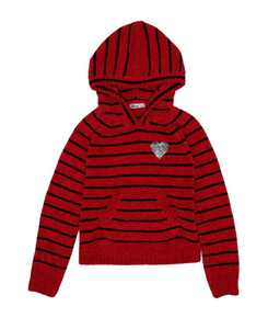 Big Girls Striped Hoodie Sweatshirt with Flip Sequin Icon