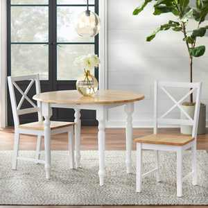 3pc Virginia Dining Set Wood/White - Buylateral