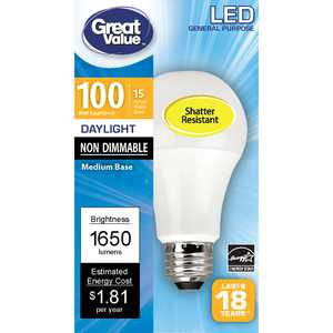 Great Value LED Light Bulb, 15 Watts (100W Equivalent) A19 General Purpose Lamp E26 Medium Base, Non-dimmable, Daylight, 1-Pack