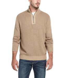 Men's Waffle Texture 1/4 Zip Sweater