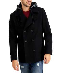Men's Miles Hooded Peacoat, Created for Macy's