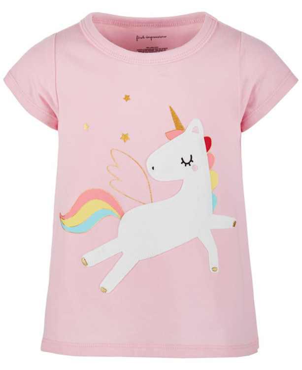 Baby Girls Cotton Rainbow Unicorn T-Shirt, Created for Macy's