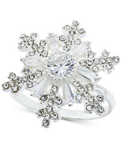 Fine Silver Plate Crystal Snowflake Statement Ring, Created for Macy's