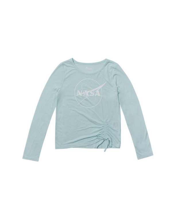 Big Girls Long Sleeve Ruched Side Tie Nasa Graphic Tee
