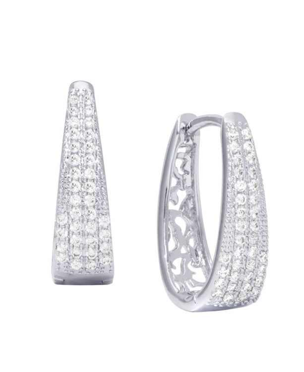 Cubic Zirconia Pave Oval Hoop Earrings in Fine Silver Plate
