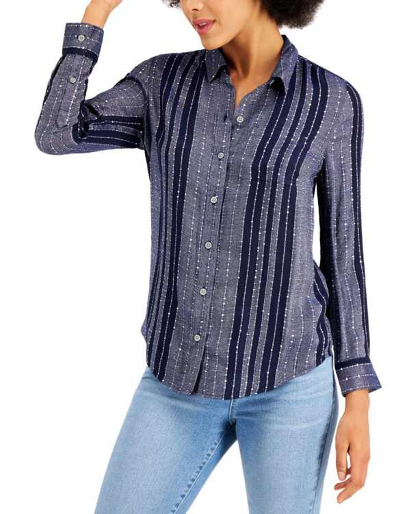 Petite Sparkle Striped Shirt, Created for Macy's
