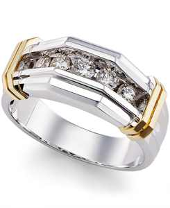 Men's Diamond Ring (1/2 ct. t.w.) in 10k Gold  and White Gold