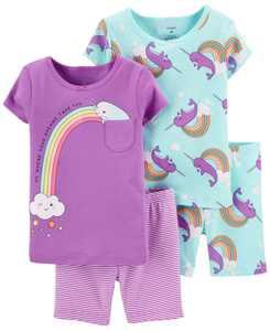 Toddler Girls Narwhal Snug Fit Pajama Set, 4 Piece